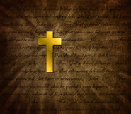 Background illustration Gold Cross/Scripture Royalty Free Stock Images
