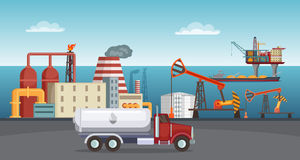 Background illustration of petroleum industry. Oil refinery, terminal of production. Petroleum manufacture building in sea vector royalty free illustration