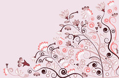Background illustration of plants in pink & white Royalty Free Stock Photography