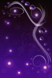 Background illustration of purple and black valentine. Hearts scattered over gradient background with sparkling lights effect Stock Image