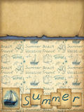 Background with illustration of sailing boat Stock Images