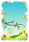 Background illustration - singing bird Royalty Free Stock Image
