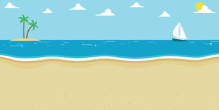 Background Illustration Of Summer Beach With Sailing Boat Stock Photos
