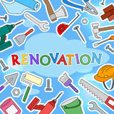 Background illustration on the topic of construction and repair , simple colored icons in the form of stickers on a blue backgroun Stock Photography