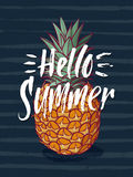Background illustration with tropical pineapple and hand writing words hello summer. Vector fruit illustration Stock Image