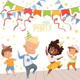Background illustrations at childrens dance party. Template of poster for kids invitation. Birthday holiday celebration, party childhood vector vector illustration