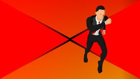 Background with illustrations of a running businessman. Eps 10 stock illustration