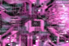 Background image of abstract light manipulations and binary code. Conceptual background image of abstract red lights and binary code manipulation stock illustration