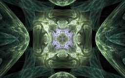 Background image abstract symmetrical pattern in the shape of a flower with lilac edging in the center and green ornament around.  Stock Image