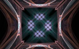 Background image abstract symmetrical pattern with a square hole inside and a brown pattern around on a black background.  Stock Image