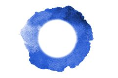 Background image of abstract watercolor spots forming a random shape of blue color with a round space for text.  stock illustration