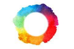 Background image of abstract watercolor spots forming a random shape of different colors with a round space for text.  vector illustration