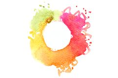 Background image of abstract watercolor spots forming a random shape of different colors with a round space for text.  royalty free illustration