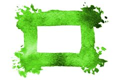 Background image of abstract watercolor spots forming a random shape of green color with a square space for text.  vector illustration