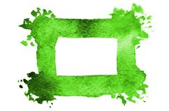 Background image of abstract watercolor spots forming a random shape of green color with a square space for text.  royalty free illustration