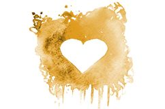 Background image of abstract watercolor spots forming a random shape of orange color with space for text in the form of a heart.  royalty free illustration