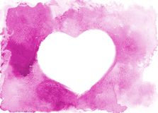 Background image of abstract watercolor spots forming a random shape of purple color with space for text in the form of a heart.  stock illustration