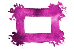 Background image of abstract watercolor spots forming a random shape of purple color with a square space for text.  vector illustration