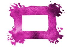 Background image of abstract watercolor spots forming a random shape of purple color with a square space for text.  royalty free illustration