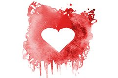 Background image of abstract watercolor spots forming a random shape of red color with space for text in the form of a heart.  royalty free illustration
