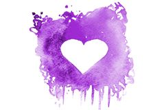Background image of abstract watercolor spots forming a random shape of violet color with space for text in the form of a heart.  royalty free illustration