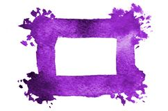 Background image of abstract watercolor spots forming a random shape of violet color with a square space for text.  vector illustration