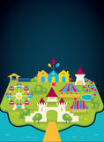 Background with image of amusement park. Vector background with image of amusement park and place royalty free illustration