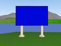 Background. Image billboard (screen) on the background of the lake, mountains, trees. 3d render Vector Illustration