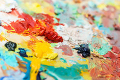 Background image of bright oil-paint palette Royalty Free Stock Photo