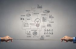 Some ideas for success achieving. Background image with business success sketched strategy stock photography