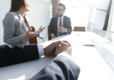 Background image .business woman conducting a meeting. Background image .business women conducting a meeting.business concept Royalty Free Stock Photography