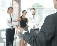Background image of businessman holding out hand for a handshake. Business background Royalty Free Stock Photos