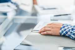 Background image of a businessman sitting at his Desk. Business background royalty free stock photography