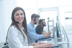 Call center employee in the workplace Royalty Free Stock Photos