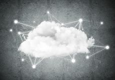 Wireless technologies for connection and sharing data as abstrac. Background image with cloud computing connection concept on concrete wall stock illustration