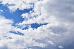 Clouds on the beautiful locality. Background image of a cloud on sky for use in background or text input Stock Images