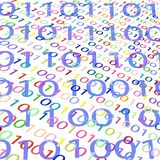 Multi-colored background image of binary code. royalty free illustration