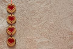 Cookies hearts by Valentine`s Day Royalty Free Stock Photos