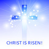 Background with the image of the cross in the rays of light in t Royalty Free Stock Photo