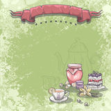 Background image with a cup of tea, jam cake and vanilla flower. Royalty Free Stock Images