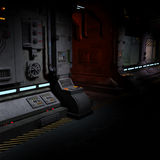 Background image of a dark corridor on bord of a. Spaceship stock images