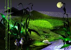 Background image of dark nature with moon at night and a nice lawn. With plants and animals, 3D illustration stock illustration