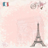 Background image on France with Eiffel tower Royalty Free Stock Photo