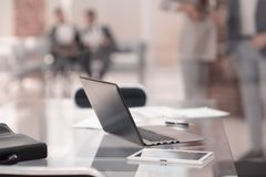 Background image.laptop on the Desk in the office. Business concept royalty free stock photos