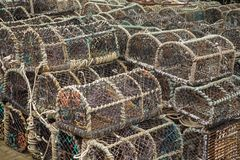 Lots of lobster cages. Background image of lobster net Royalty Free Stock Photography