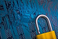 Background image of metal lock on a microchip royalty free stock photos