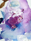 Background image of oil-paint palette closeup in violet color Stock Photo
