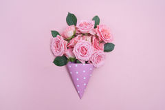 Background image of pink roses. Flat lay, top view Stock Photos