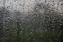 Background image of rain drops on a glass window, which is protected by a mosquito net. Macro photo with shallow depth of fiel. D Royalty Free Stock Photos