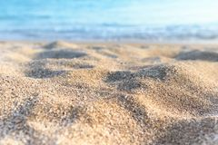 Background image of sandy beach and ocean waves.  royalty free stock images